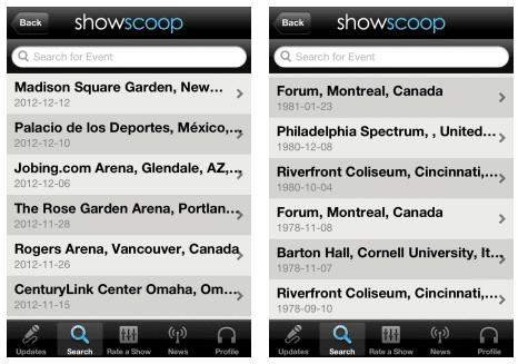 Liste showscoop