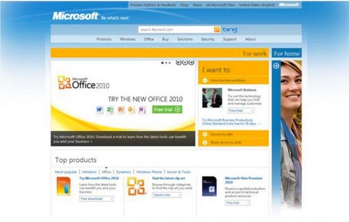 Homepage Microsoft.com 2010