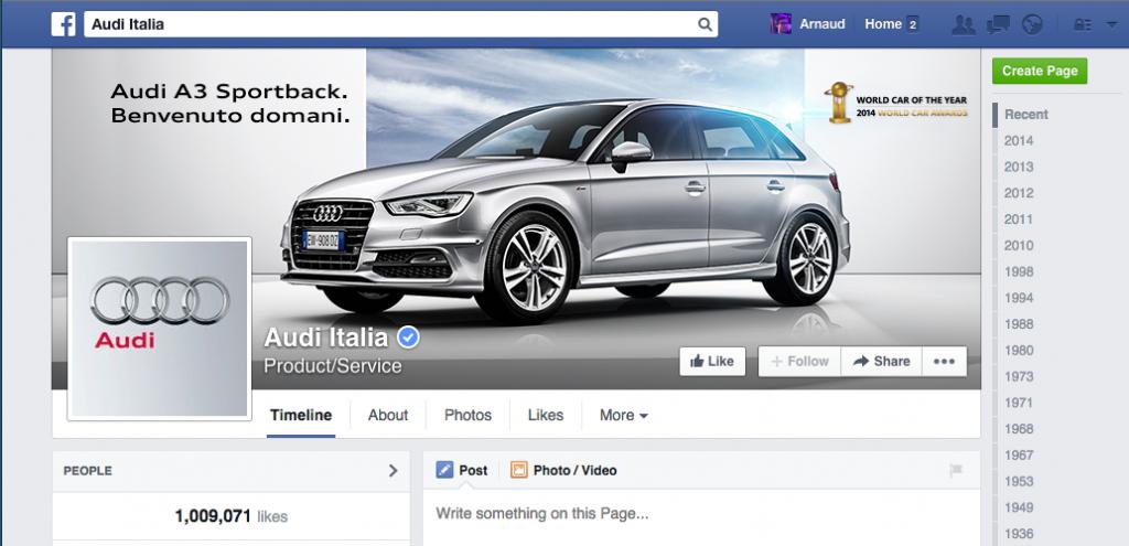 Audi Italie Facebook page