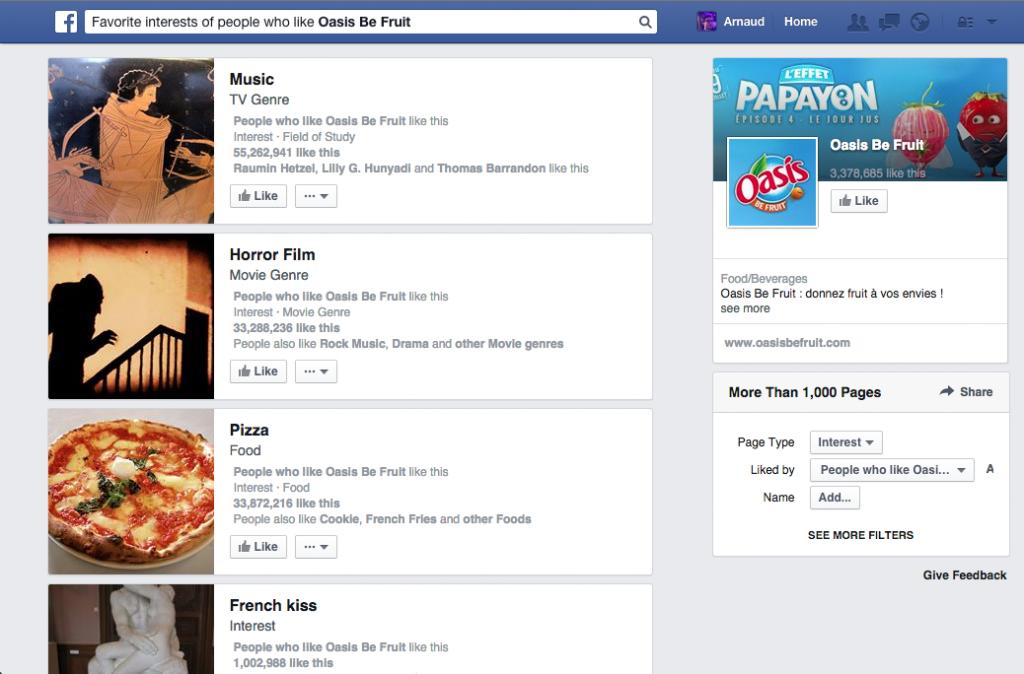 Facebook Graph Search intérêts