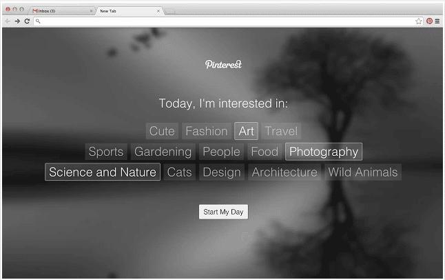 Pinterest Tab choix catégories