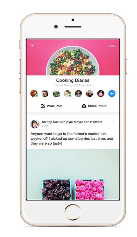 facebook groups application interface