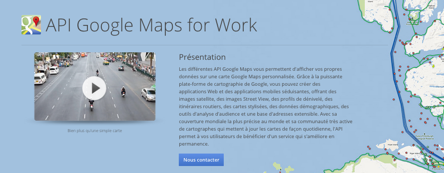 API Google maps for Work