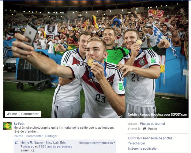 So Foot sur Facebook avec le selfie des allemands lors de la coupe du monde