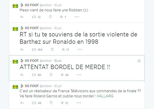 Commentaires en live sur Twitter des matchs de football par So Foot