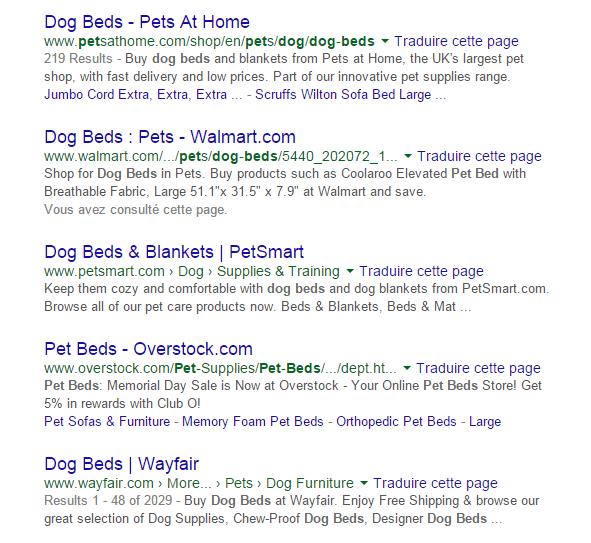 Exemple_Résultats_organiques_Dog_Beds
