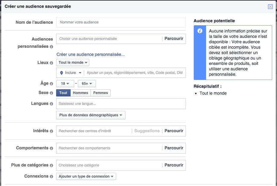 Facebook ads audience personnalisee audience sauvegardée