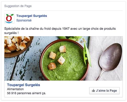 Facebook ads mentions J'aime une page
