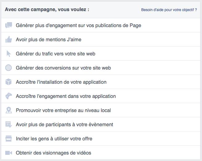 Facebook ads objectifs prédéfinis par Facebook