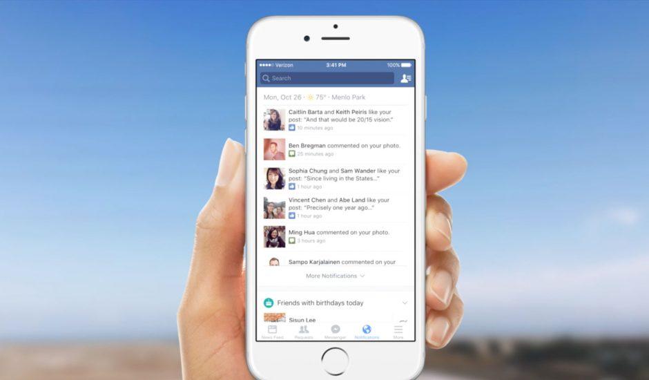 nouveau centre de notifications facebook
