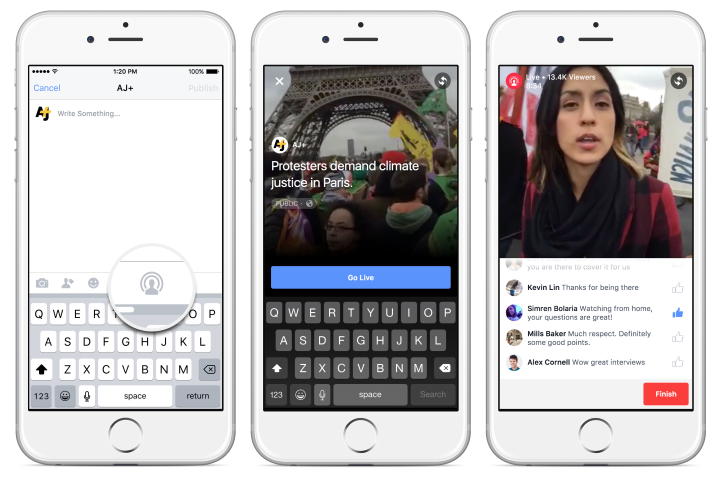 Facebook Live pages facebook verifiees