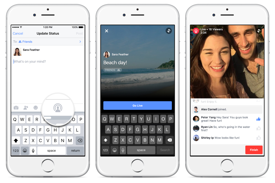 Facebook Live video live partage