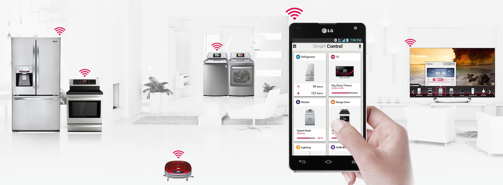 Exemple de maison connectée en WiFi à travers l'application Smart Home de LG.