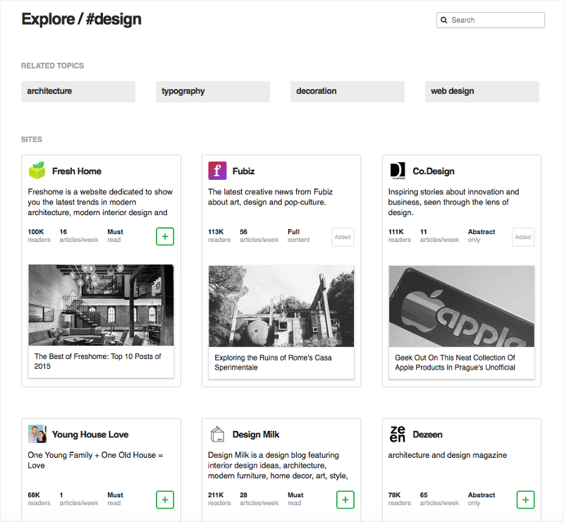 L'exploration dans Feedly avant.
