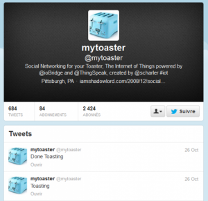 toaster connecte twitter