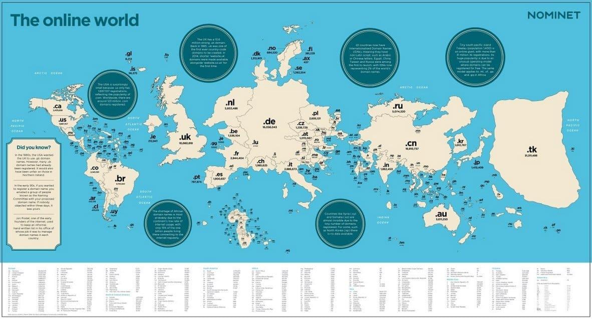 noms de domaine carte du monde