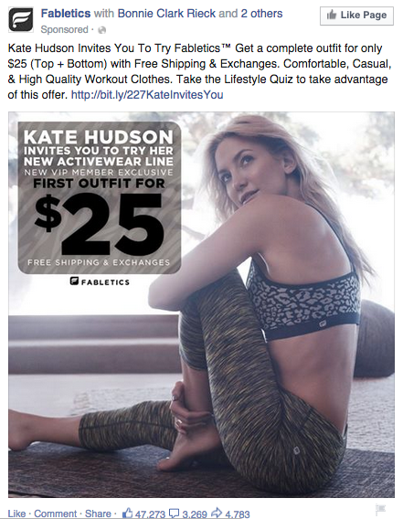 Exemple post Facebook - Fabletics
