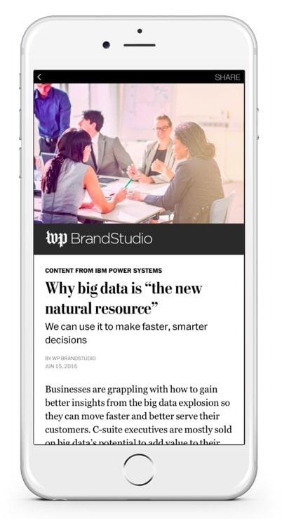 branded content de Facebook avec The Washington Post