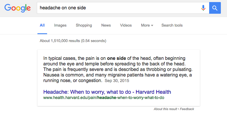 cherche symptomes google