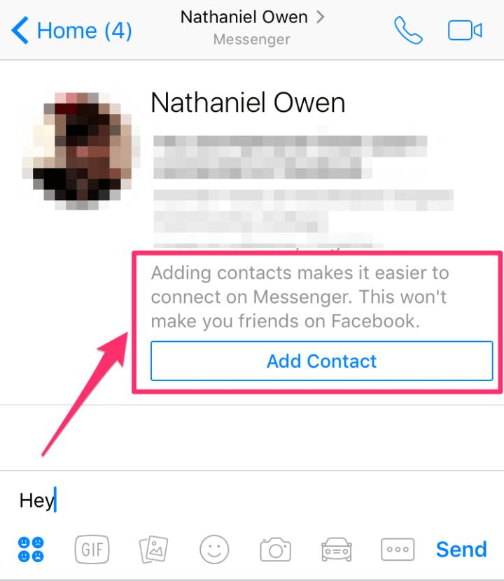 messenger bouton ajouter contact