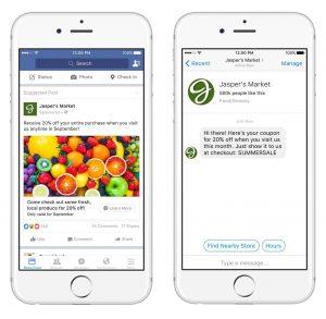 Des publicités renvoyant vers Messenger