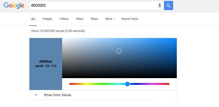 Google couleurs hexadecimales