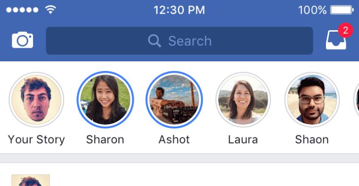 facebook stories sur iOS