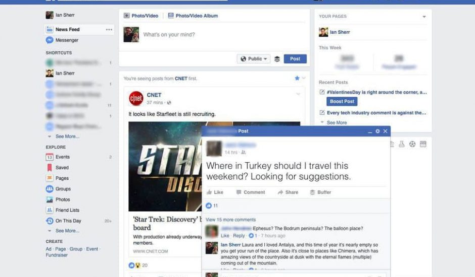 Facebook pop-up