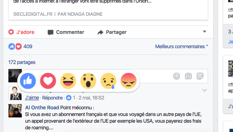reactions facebook commentaire