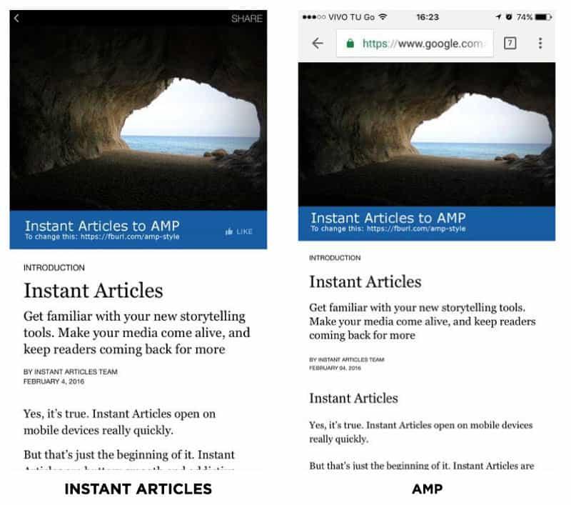 SDK instant articles AMP