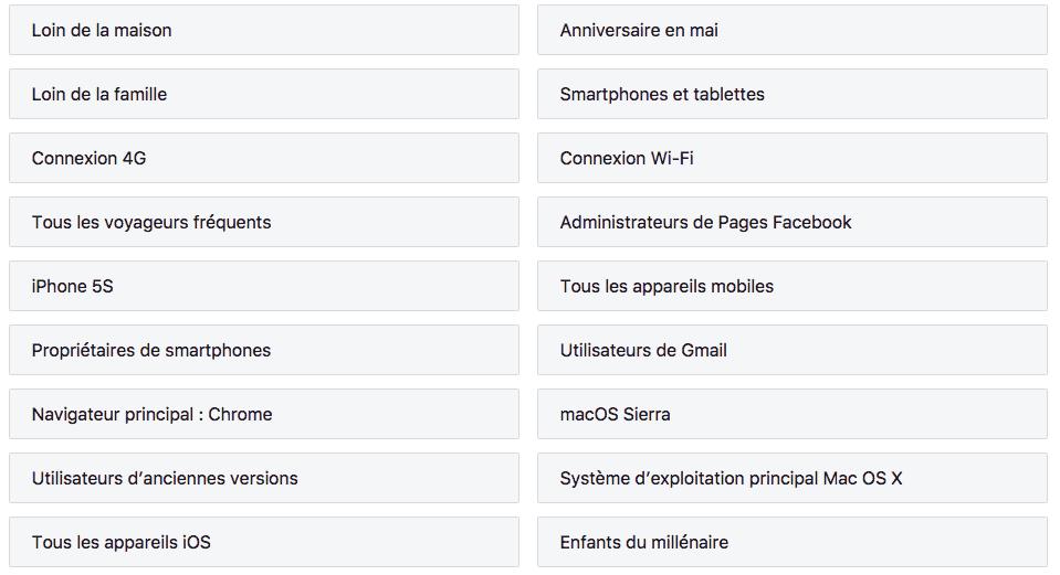 Facebook catégories vie privée