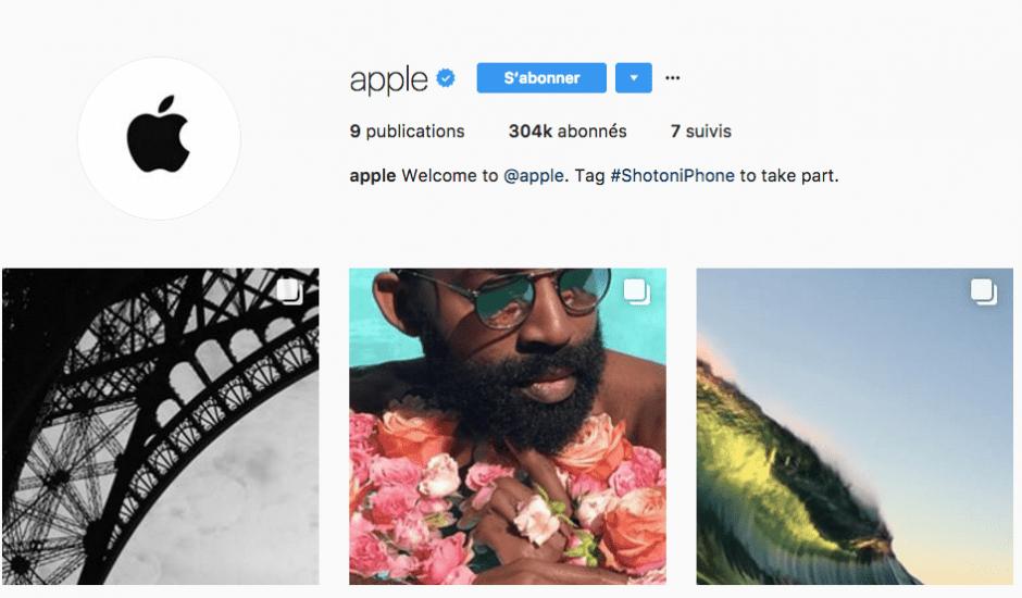 Apple compte instagram