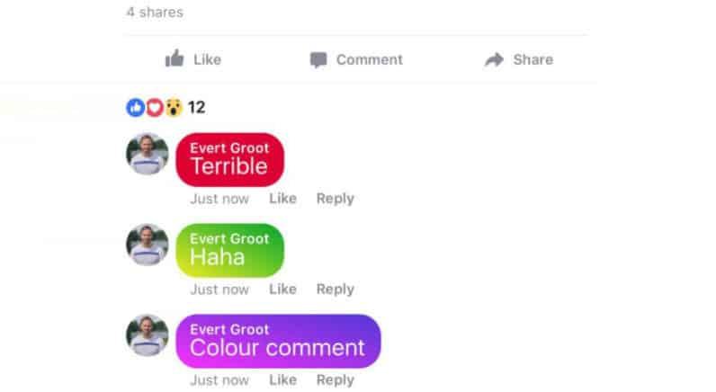Facebook commentaires couleurs