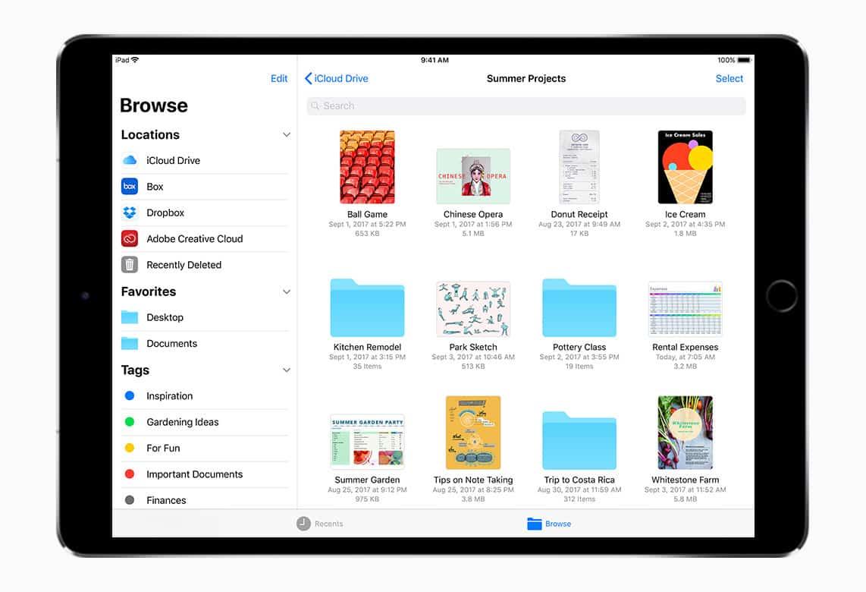 iOS 11 Files sur iPad