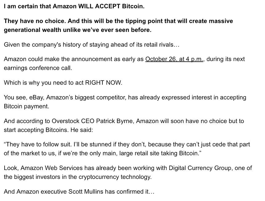 rumeur amazon bitcoin