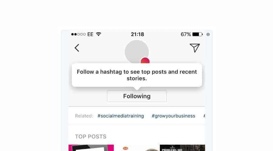 instagram follow hashtag