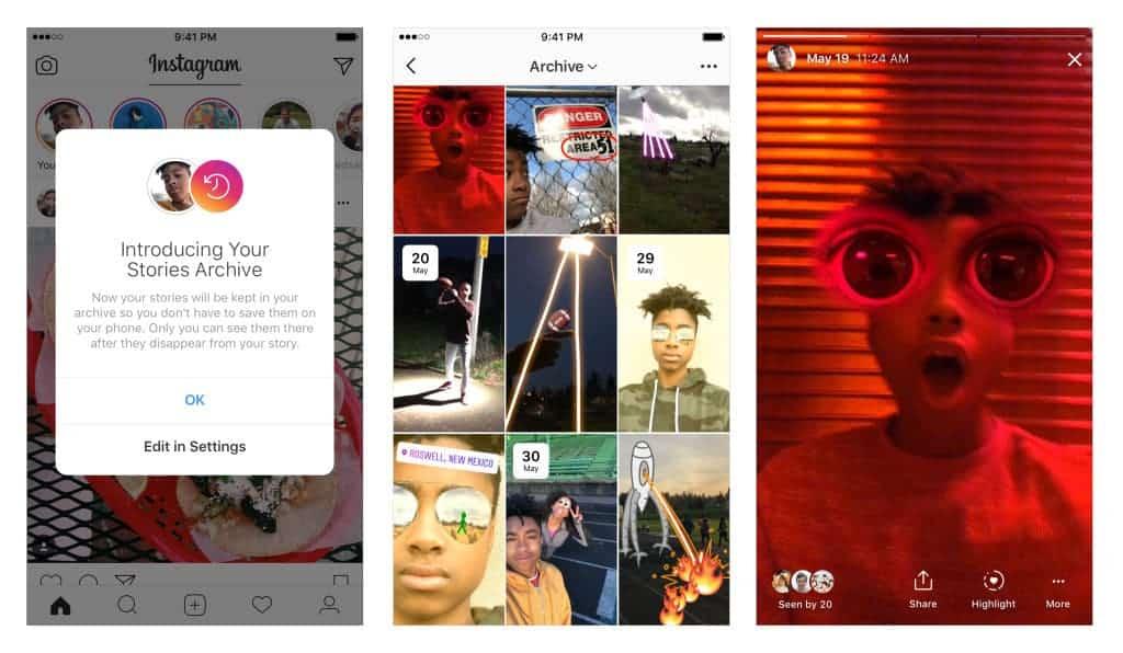 Aperçu de Instagram Stories Archive sur iOS