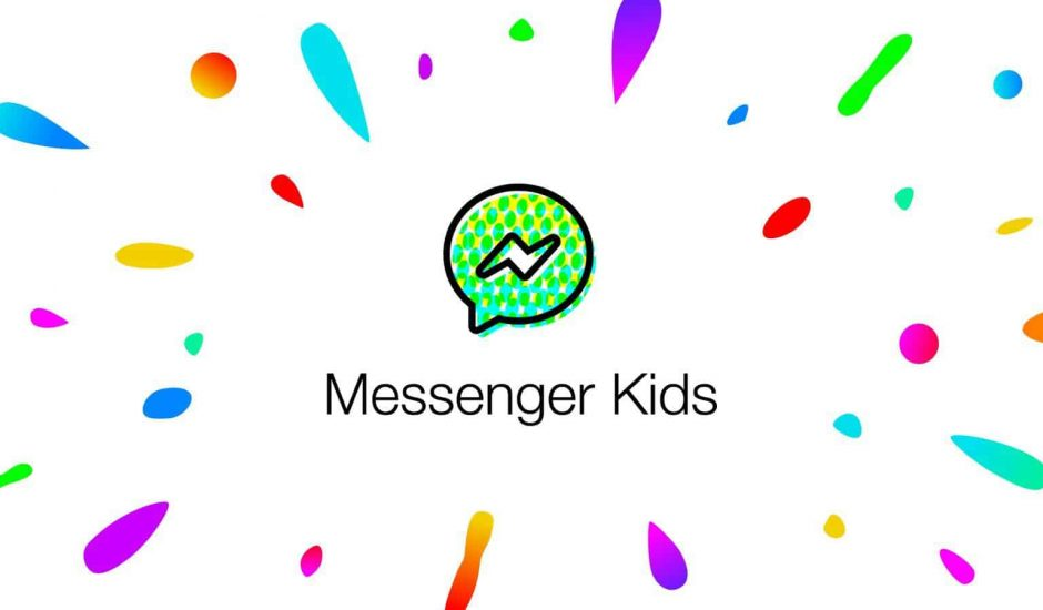 Le logo de Messenger Kids sur un fond blanc avec des tâches colorées.