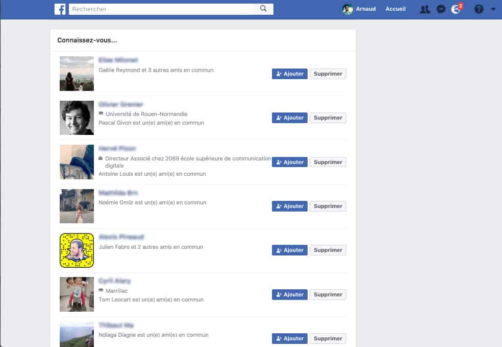 suggestion d'amis Facebook aperçu