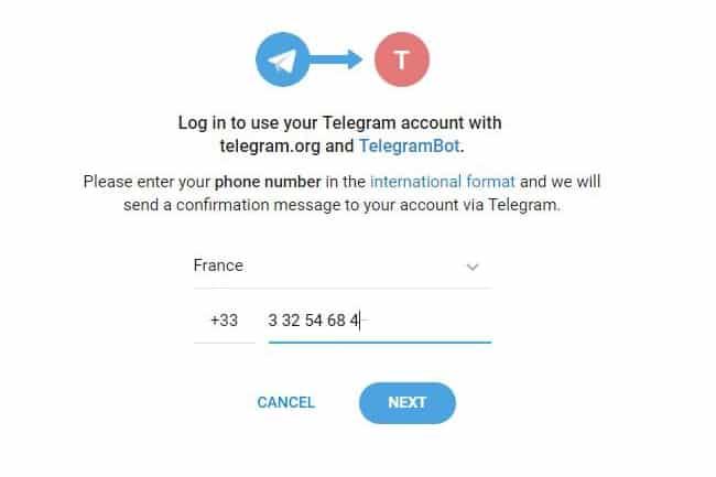 Aperçu de la connexion via le nouveau login de Telegram
