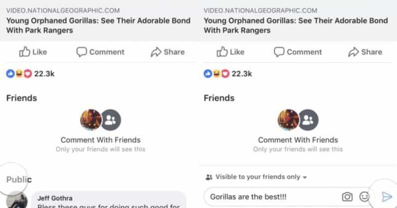 Facebook teste la possibilité de laisser des commentaires sur une publication qui seront visibles uniquement par nos amis.