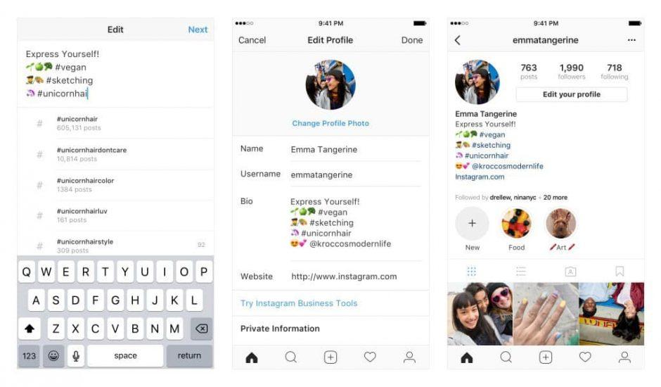 instagram hashtag lien profile description