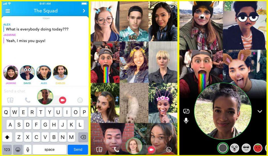 Snapchat introduit les appels de groupes vidéos, avec 16 personnes en même temps.