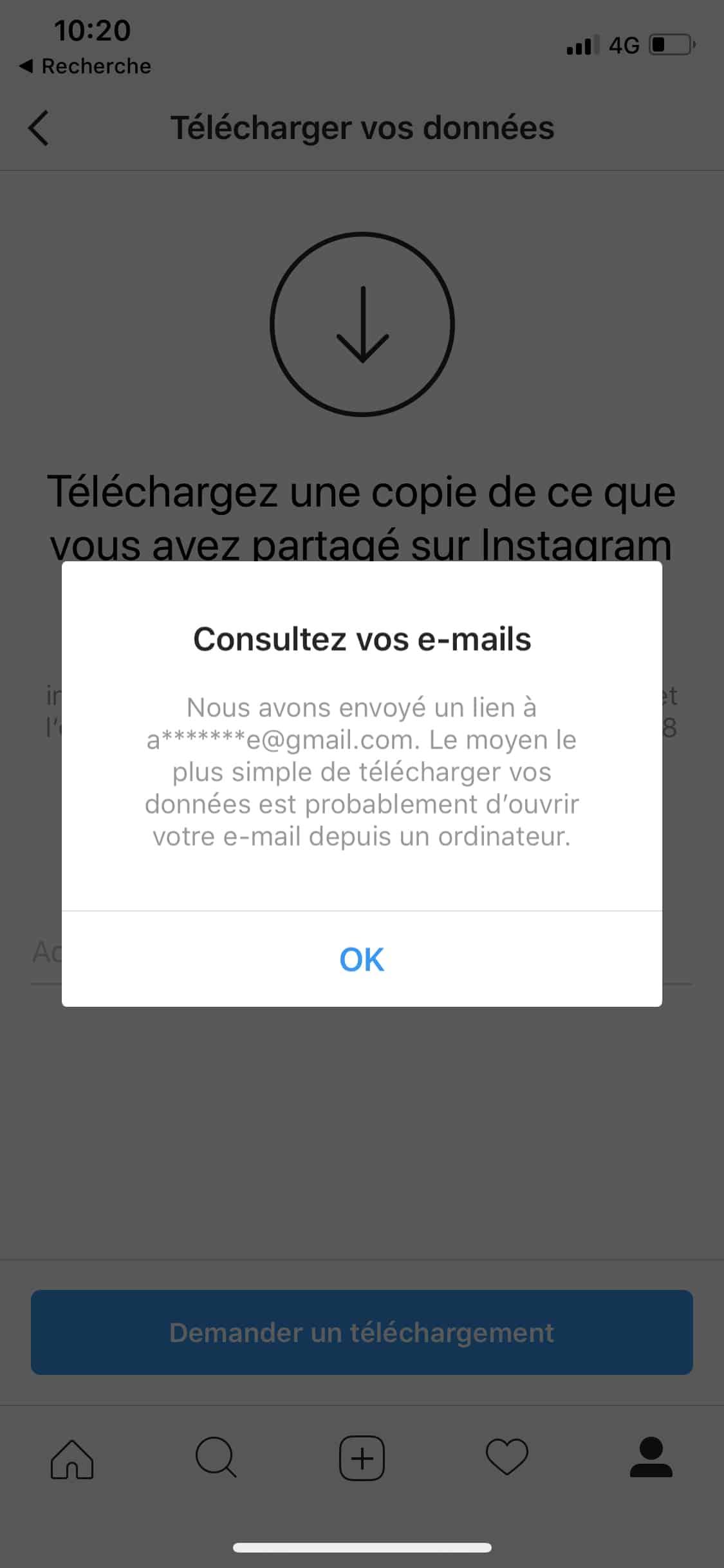 télécharger les données de votre profil Instagram