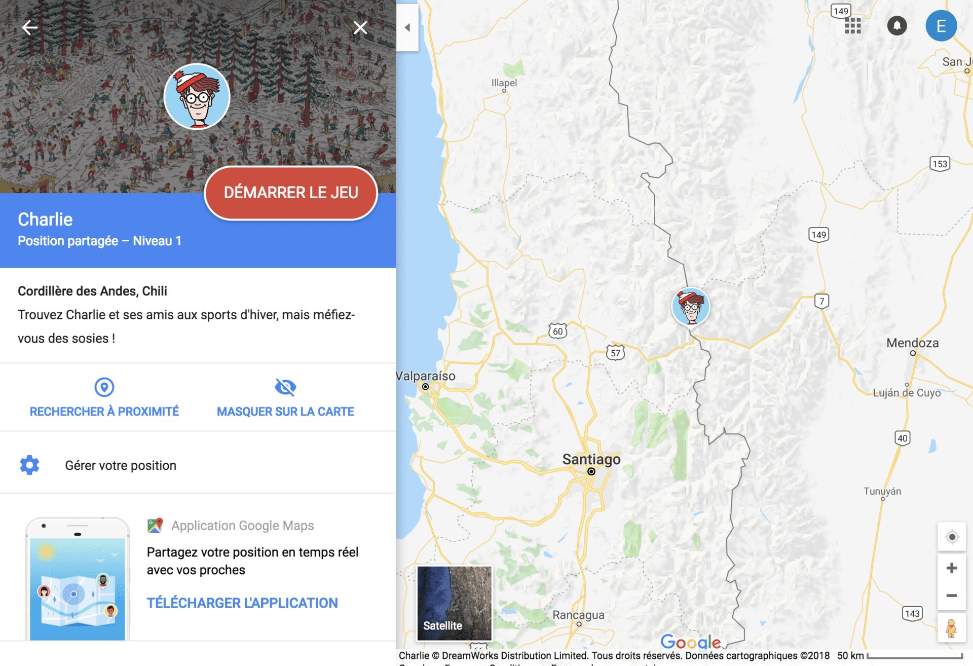 Jeu où est charlie sur Maps