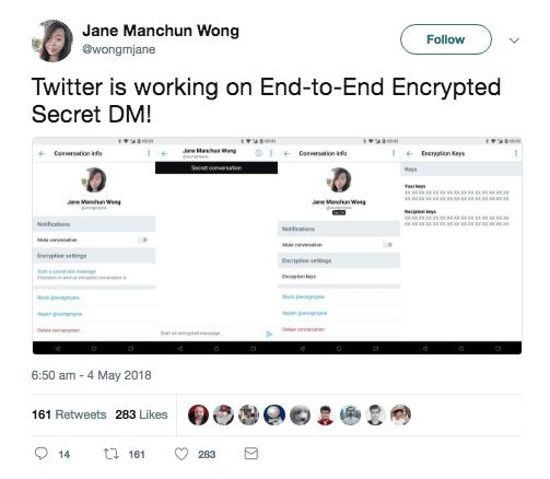 Capture d'écran du tweet de Jane Manchun Wong