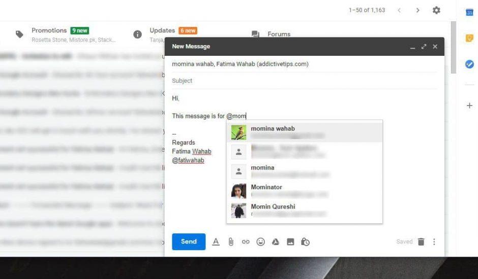 Il est désormais possible de mentionner des personnes sur Gmail