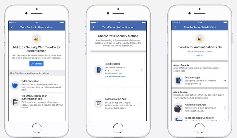 Facebook Visuel processus d'authentification à deux facteurs
