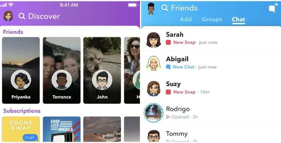 Snapchat revient sur l'ancienne version de son application