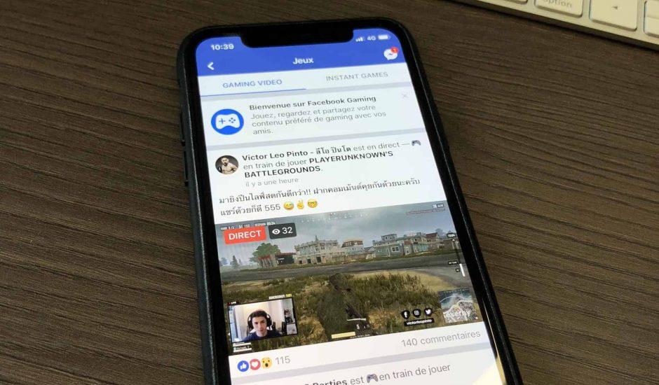 facebook gaming sur iOS iPhone X
